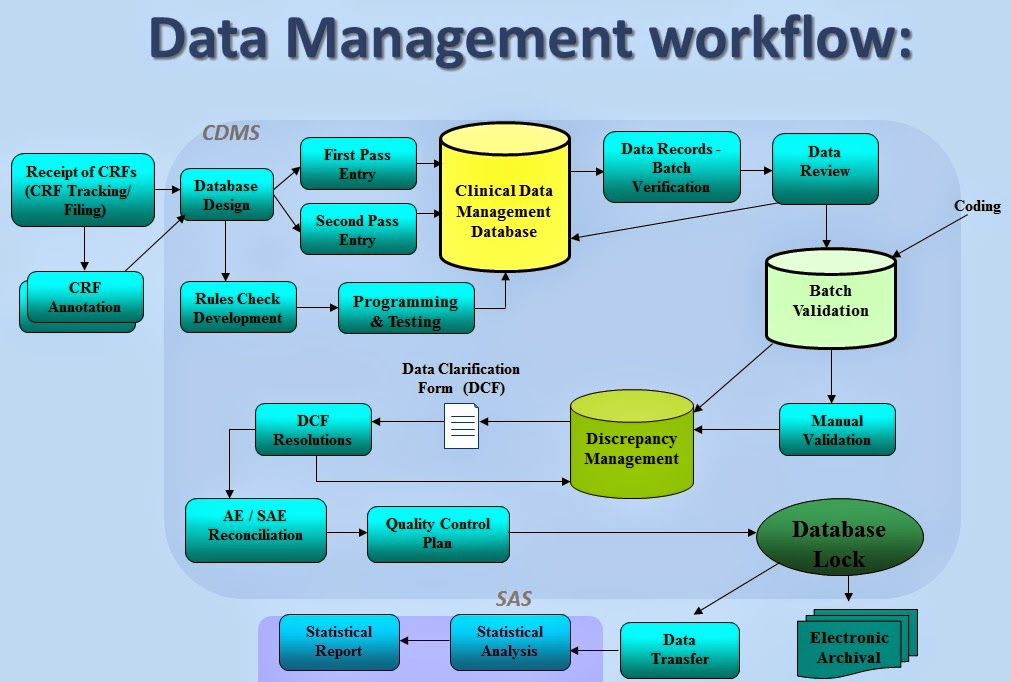 Диаграмма Workflow Data Management для Clinical Trials