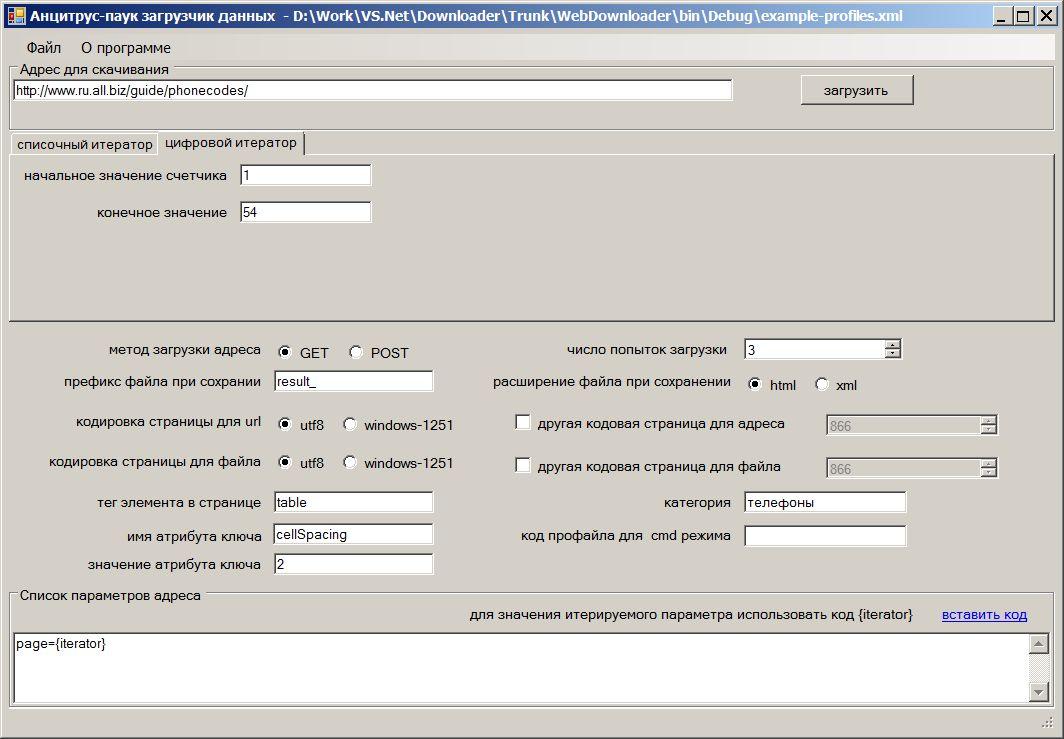 Пример настройки параметров программы Анцитрус-паук