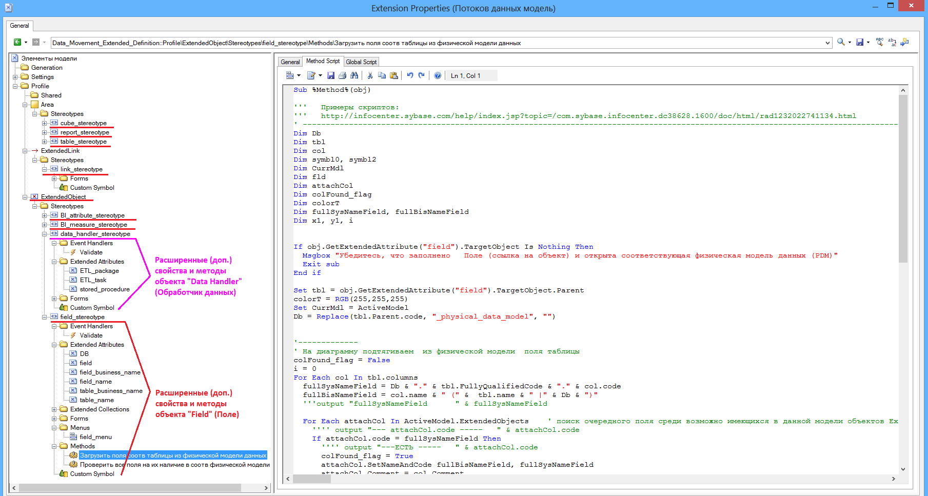 Расширение FEM-модели SAP PowerDesigner для описания потоков и трансформации данных