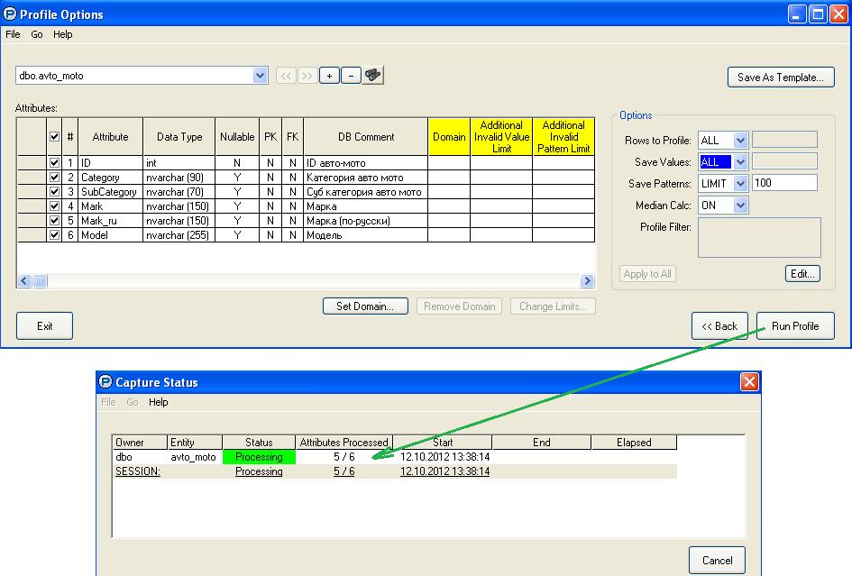 Определение параметров профилирования и запуск процесса профилирования